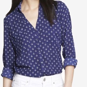 Button Down Navy Anchor Blouse